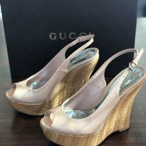 Gucci Nude Peep Toe Platform Wedge